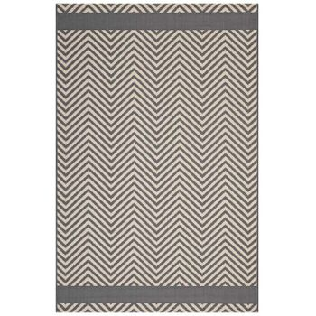 OPTICA CHEVRON WITH END BORDERS 8X10 INDOOR AND OUTDOOR AREA RUG IN GRAY AND BEIGE