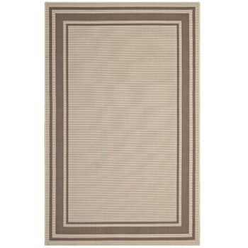 RIM SOLID BORDER BORDERLINE 5X8 INDOOR AND OUTDOOR AREA RUG IN LIGHT AND DARK BEIGE