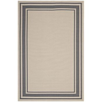 RIM SOLID BORDER BORDERLINE 5X8 INDOOR AND OUTDOOR AREA RUG IN GRAY AND BEIGE