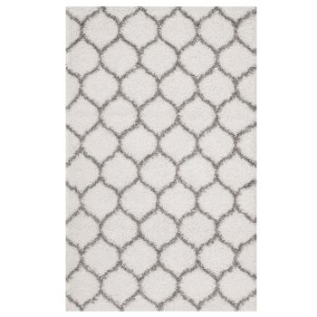 SOLVEA MOROCCAN TRELLIS 8X10 SHAG AREA RUG IN IVORY AND GRAY