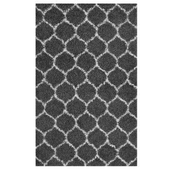 SOLVEA MOROCCAN TRELLIS 8X10 SHAG AREA RUG IN DARK GRAY AND IVORY