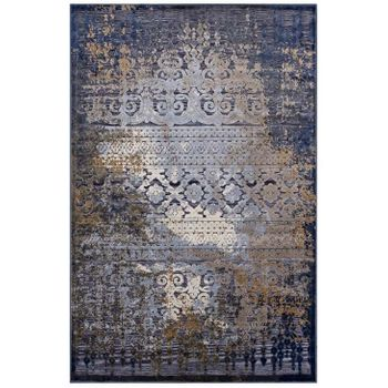 KALENE DISTRESSED VINTAGE TURKISH 8X10 AREA RUG IN BLUE, RUST AND CREAM