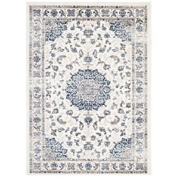 LILJA DISTRESSED VINTAGE PERSIAN MEDALLION 5X8 AREA RUG IN IVORY AND MOROCCAN BLUE