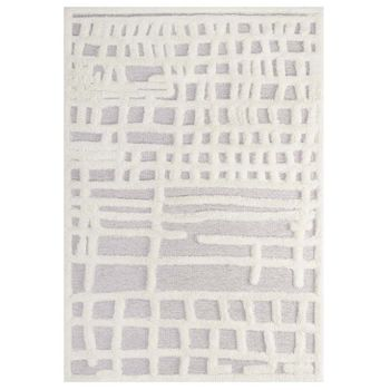 WHIMSICAL ABSTRACT PLAID LATTICE 5X8 SHAG AREA RUG IN IVORY AND LIGHT GRAY