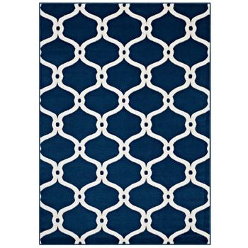 BELTARA CHAIN LINK TRANSITIONAL TRELLIS 8X10 AREA RUG IN MOROCCAN BLUE AND IVORY