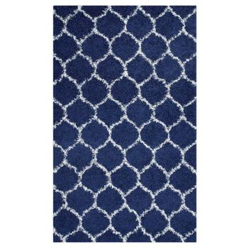SOLVEA MOROCCAN TRELLIS 5X8 SHAG AREA RUG IN NAVY AND IVORY