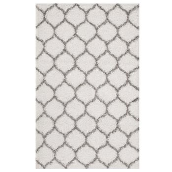 SOLVEA MOROCCAN TRELLIS 5X8 SHAG AREA RUG IN IVORY AND GRAY