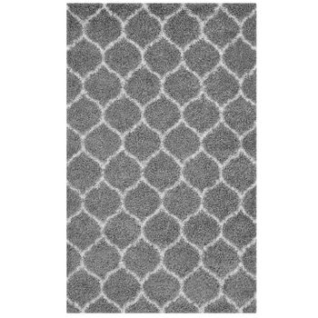 SOLVEA MOROCCAN TRELLIS 5X8 SHAG AREA RUG IN GRAY AND IVORY