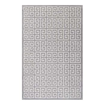 FREYDIS GREEK KEY 5X8 AREA RUG IN WHITE AND LIGHT GRAY