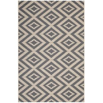 JAGGED GEOMETRIC DIAMOND TRELLIS 5X8 INDOOR AND OUTDOOR AREA RUG IN GRAY AND BEIGE