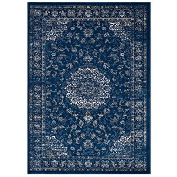LILJA DISTRESSED VINTAGE PERSIAN MEDALLION 8X10 AREA RUG IN MOROCCAN BLUE, BEIGE AND IVORY