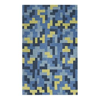 ANDELA INTERLOCKING BLOCK MOSAIC 8X10 AREA RUG IN MULTICOLORED BLUE AND LIGHT OLIVE GREEN