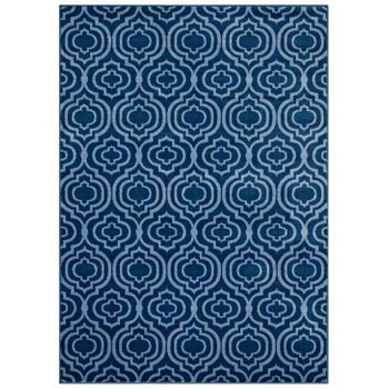 FRAME TRANSITIONAL MOROCCAN TRELLIS 8X10 AREA RUG IN MOROCCAN BLUE AMD LIGHT BLUE
