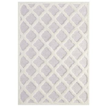 WHIMSICAL ABSTRACT MOROCCAN TRELLIS 5X8 SHAG AREA RUG IN IVORY AND LIGHT GRAY