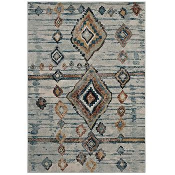 JENICA DISTRESSED MOROCCAN TRIBAL ABSTRACT DIAMOND 5X8 AREA RUG IN SILVER BLUE, BEIGE AND BROWN