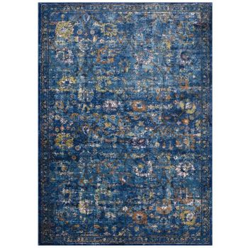 MINU DISTRESSED FLORAL LATTICE 4X6 AREA RUG IN DARK BLUE, YELLOW AND ORANGE