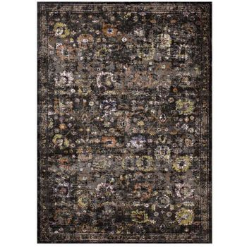 MINU DISTRESSED FLORAL LATTICE 4X6 AREA RUG IN BLACK, YELLOW AND ORANGE