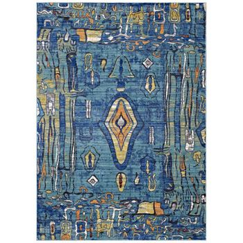 YARETZI DISTRESSED SOUTHWESTERN AZTEC 5X8 AREA RUG IN MULTICOLORED