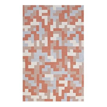 ANDELA INTERLOCKING BLOCK MOSAIC 5X8 AREA RUG IN MULTICOLORED CORAL AND LIGHT BLUE