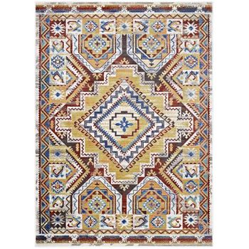 FLORITA DISTRESSED SOUTHWESTERN AZTEC 5X8 AREA RUG IN MULTICOLORED