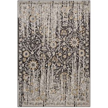GANESA DISTRESSED DIAMOND FLORAL LATTICE 5X8 AREA RUG IN BLACK AND BEIGE
