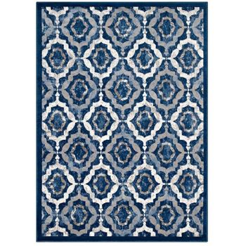 KALINDA RUSTIC VINTAGE MOROCCAN TRELLIS 5X8 AREA RUG IN BEIGE, MOROCCAN BLUE AND IVORY