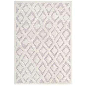 WHIMSICAL ABSTRACT DIAMOND LATTICE 5X8 SHAG AREA RUG IN IVORY AND LIGHT GRAY