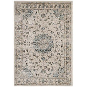 ATARA DISTRESSED VINTAGE PERSIAN MEDALLION 5X8 AREA RUG IN TEAL AND BEIGE