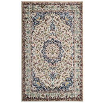 MERYAM DISTRESSED PERSIAN MEDALLION 5X8 AREA RUG IN MULTICOLORED