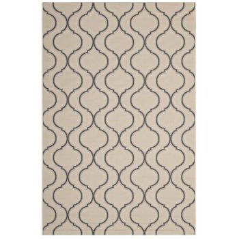 LINZA WAVE ABSTRACT TRELLIS 5X8 INDOOR AND OUTDOOR AREA RUG IN BEIGE AND GRAY