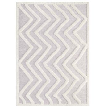 WHIMSICAL ABSTRACT CHEVRON 5X8 SHAG AREA RUG IN IVORY AND LIGHT GRAY