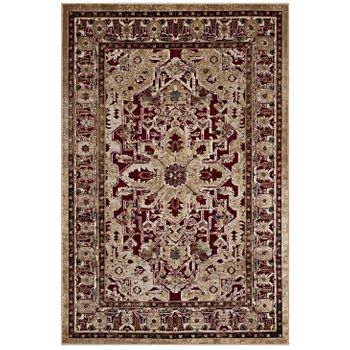 GRANIA ORNATE VINTAGE FLORAL TURKISH 5X8 AREA RUG IN BURGUNDY AND TAN