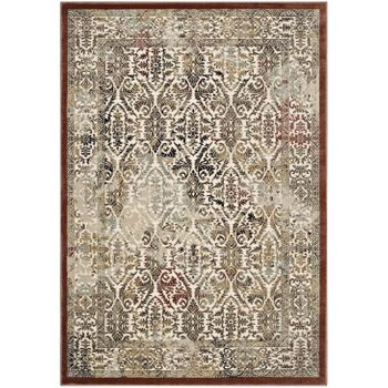 HESTER ORNATE TURKISH 5X8 VINTAGE AREA RUG IN TAN AND WALNUT BROWN