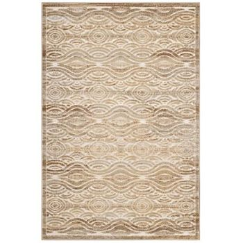 KENNOCHA RUSTIC VINTAGE ABSTRACT WAVES 8X10 AREA RUG IN TAN AND CREAM