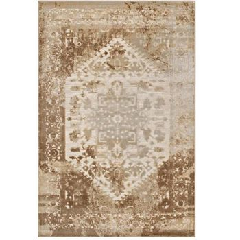 ROSINA DISTRESSED PERSIAN VINTAGE MEDALLION 8X10 AREA RUG IN TAN AND CREAM
