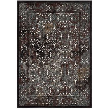 WESTIA ORNATE TURKISH 5X8 VINTAGE AREA RUG IN DARK BROWN AND SILVER BLUE