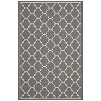 AVENA MOROCCAN QUATREFOIL TRELLIS 8X10 INDOOR AND OUTDOOR AREA RUG IN GRAY AND BEIGE