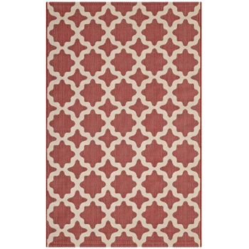 CERELIA MOROCCAN TRELLIS 5X8 INDOOR AND OUTDOOR AREA RUG IN RED AND BEIGE
