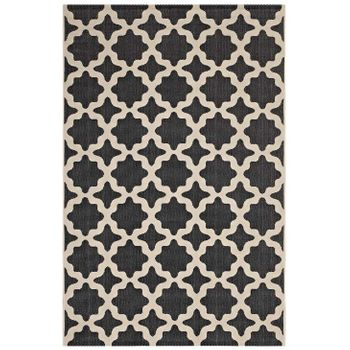 CERELIA MOROCCAN TRELLIS 5X8 INDOOR AND OUTDOOR AREA RUG IN BLACK AND BEIGE