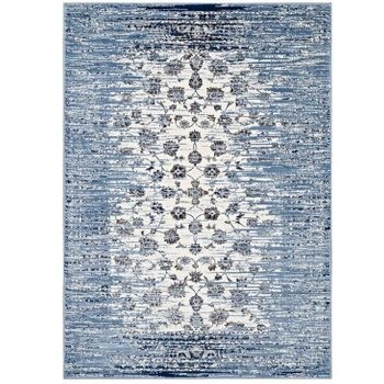 CHIARA DISTRESSED FLORAL LATTICE CONTEMPORARY 8X10 AREA RUG IN MOROCCAN BLUE AND IVORY