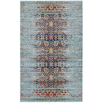 NARIA DISTRESSED PERSIAN MEDALLION 5X8 AREA RUG IN MULTICOLORED