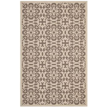 ARIANA VINTAGE FLORAL TRELLIS 5X8 INDOOR AND OUTDOOR AREA RUG IN LIGHT AND DARK BEIGE