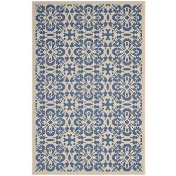 ARIANA VINTAGE FLORAL TRELLIS 5X8 INDOOR AND OUTDOOR AREA RUG IN BLUE AND BEIGE
