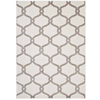 BELTARA CHAIN LINK TRANSITIONAL TRELLIS 5X8 AREA RUG IN BEIGE AND IVORY