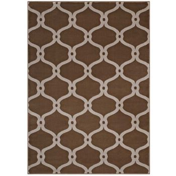 BELTARA CHAIN LINK TRANSITIONAL TRELLIS 5X8 AREA RUG IN DARK TAN AND BEIGE
