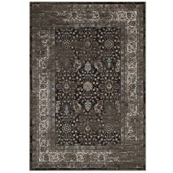 BERIT DISTRESSED VINTAGE FLORAL LATTICE 8X10 AREA RUG IN BROWN AND BEIGE