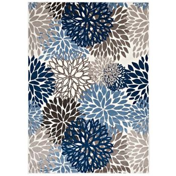 CALITHEA VINTAGE CLASSIC ABSTRACT FLORAL 8X10 AREA RUG IN BLUE, BROWN AND BEIGE