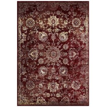 CYNARA DISTRESSED FLORAL PERSIAN MEDALLION 5X8 AREA RUG IN BURGUNDY AND BEIGE