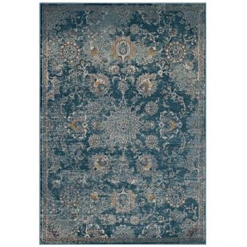 CYNARA DISTRESSED FLORAL PERSIAN MEDALLION 5X8 AREA RUG IN SILVER BLUE, TEAL AND BEIGE
