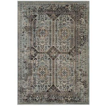 ENYE DISTRESSED VINTAGE FLORAL LATTICE 5X8 AREA RUG IN BROWN AND SILVER BLUE